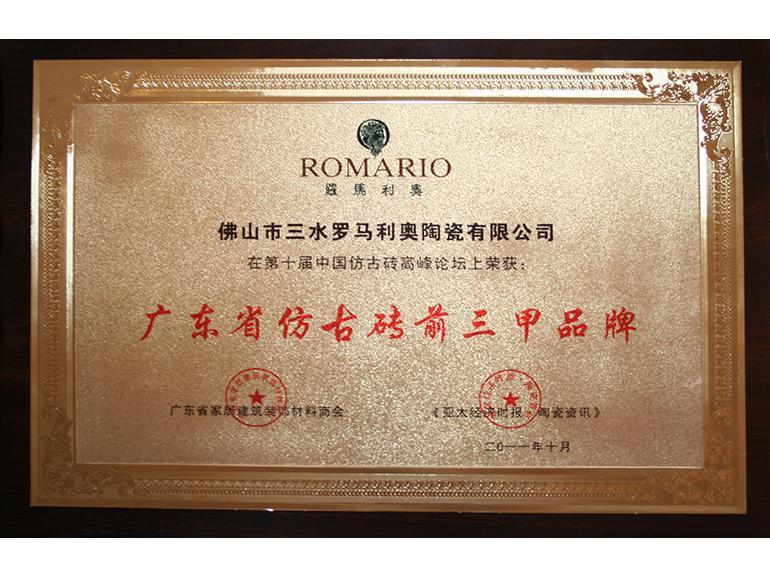 2011年广东省仿古砖前三甲品牌